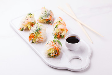 Vietnamese spring rolls with shrimps and vegetables. Copyspace
