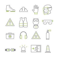 Work safety line icon set Vector illustration concept