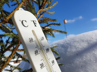 street thermometer with a temperature of Celsius and Fahrenheit in the snow next to a young pine