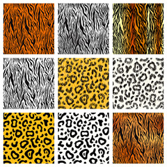 Set of realistic and cartoon tiger, cheetah and leopard skin, detailed seamless patterns