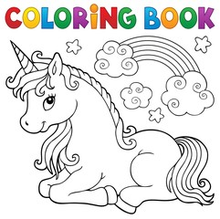Coloring book stylized unicorn theme 1