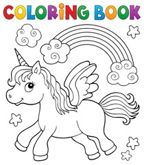 Photo sur Plexiglas Enfants Coloring book stylized unicorn theme 2