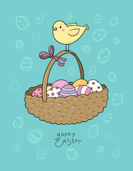 Basket with easter eggs and chicken. greeting card - Vector