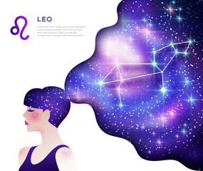 Leo zodiac sign poster