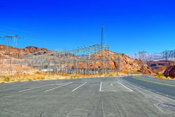 Substation and  Power Transmission Lines in american desert.