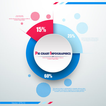 Business colorful pie chart template with big circle in the center. Background for your documents, web sites, reports, presentations and infographics