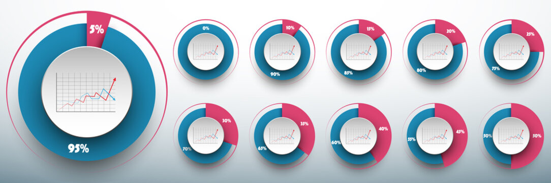 Pie chart set from 0 to 50/50 percents ready to use for web design, user interface (UI) or infographic. Two colors - rose and blue.