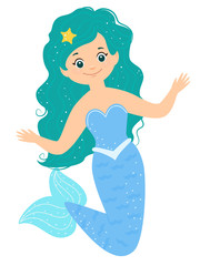 Cartoon smile blue mermaid with starfish in her hairs.