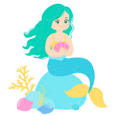 Cartoon smile mermaid with cshell in her hands