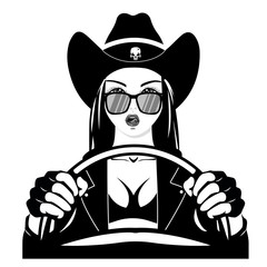 Western Cowgirls - feminist driver. Cowgirl hat. girl in sunglasses