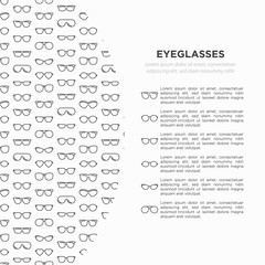 Eyeglasses concept with thin line icons: sunglasses, sport glasses, rectangular, aviator, wayfarer, round, square, cat eye, oval, extravagant, big size. Vector illustration for banner, print media.
