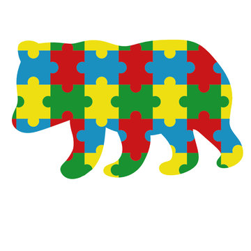 Autism Puzzle Pieces icon baby bear