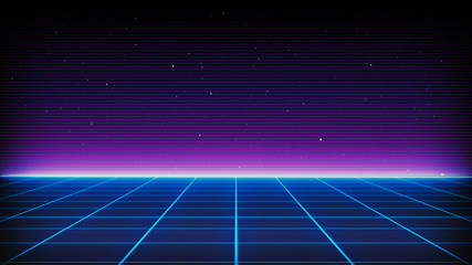 Retro Sci-Fi Background Futuristic landscape of the 80`s. Digital Cyber Surface. Suitable for design in the style of the 1980`s Fototapete