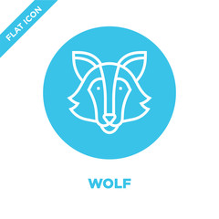 wolf icon vector from animal head collection. Thin line wolf outline icon vector  illustration. Linear symbol for use on web and mobile apps, logo, print media.