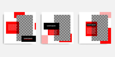 Minimal design background vector illustration in black red white frame color. Editable square abstract vintage, geometric strip line shape banner template for social media post, stories, story, flyer.