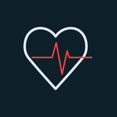 Heart beat vector icon - vector illustration