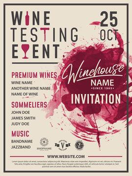 Wine taste invitation card vector design template