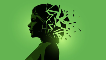 Fototapeta Adult women silhouette with a fractured mind. Mental Health vector illustration. obraz