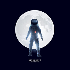 Astronaut Spaceman In Front of The Moon