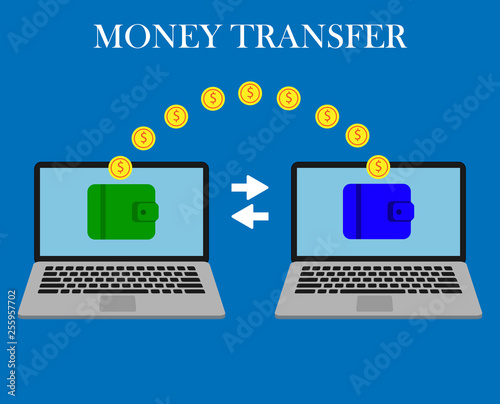Money transfer  Two laptops with wallets on screen and transferred