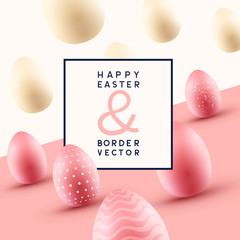 Happy Easter Frame Design With Easter Eggs