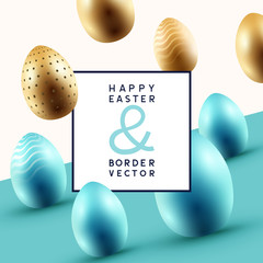 Happy Easter Border Frame Design Vector
