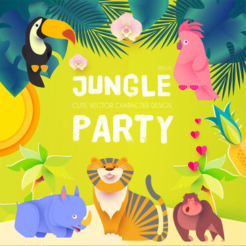 Jungle Party. Cute Exotic Animals Design. Children Event Poster Template. Papercraft.