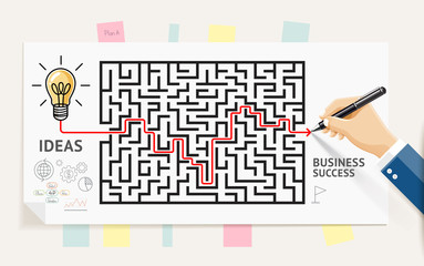 Business maze conceptuel design. Businessman hand drawing line through maze labyrinth and think about solution to success. Graphic vector illustrations..
