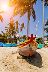 palms Colourful traditional fishing boat moored fishing village Vietnam