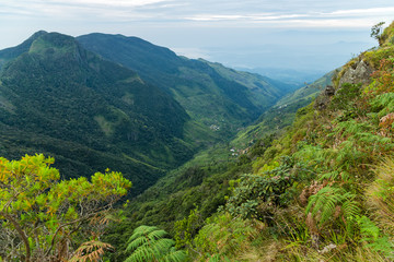 Famous tourist attractions and landmarks mountain road Worlds End in Horton Plains National Park Sri Lanka.