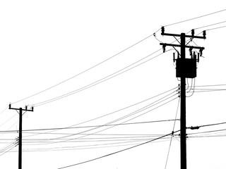 Fototapeta Silhouette electric pole on white background obraz