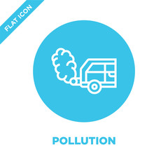 pollution icon vector from global warming collection. Thin line pollution outline icon vector  illustration. Linear symbol for use on web and mobile apps, logo, print media.