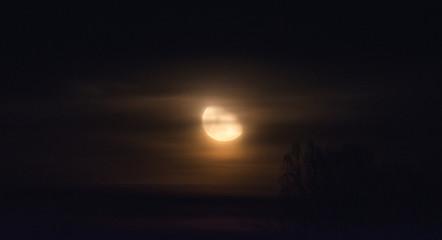 Orange moon rise