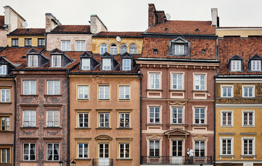 Houses in Old town of Warsaw, Poland.