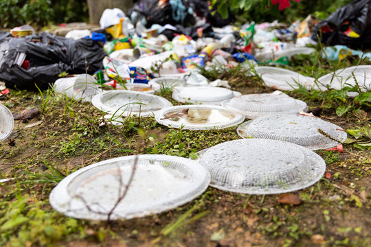 Indiscriminate litter of plastic non-biodegradable at garbage dump