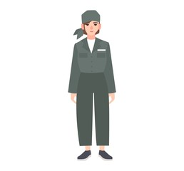 Young woman dressed in prison uniform isolated on white background. Female prisoner, convicted criminal, arrested or punished person, convict, felon. Flat cartoon character. Vector illustration.