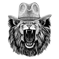 Lion wearing cowboy hat. Wild west animal. Hand drawn image for tattoo, emblem, badge, logo, patch, t-shirt