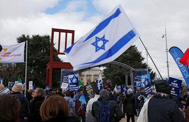 A flag of Israel  is pictured at the United Nations in Geneva