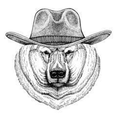 Big polar bear, wearing cowboy hat. Wild west animal. Hand drawn image for tattoo, emblem, badge, logo, patch, t-shirt