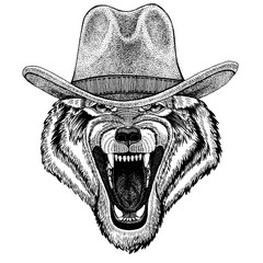 Wolf, dog wearing cowboy hat. Wild west animal. Hand drawn image for tattoo, emblem, badge, logo, patch, t-shirt