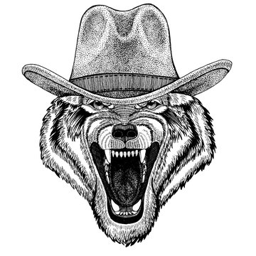Wolf, dog wearing cowboy hat. Wild west animal. Hand drawn image for tattoo, emblem, badge, logo, patch, t-shirt