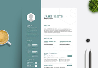 Resume and Cover Letter Set with Teal Sidebar Element