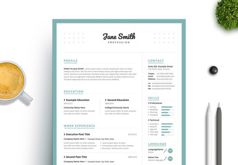 Resume and Cover Letter Set with Turquoise Border