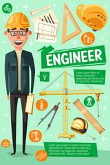 Builder, engineer or worker, cartoon man