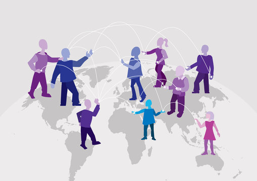 World connection. Different people around the world work together, communicate and exchange information