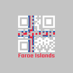 QR code set the color of Faroe Islands flag. a blue-fimbriated red Nordic cross on a white field.