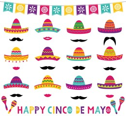 Colorful Mexican sombreros set