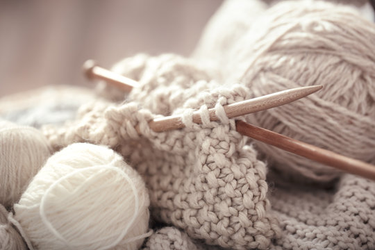 The macro concept of knitting wool and needles