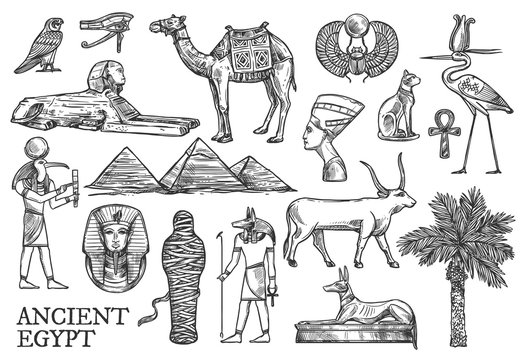 Ancient Egypt icons, Gods and landmark sketches