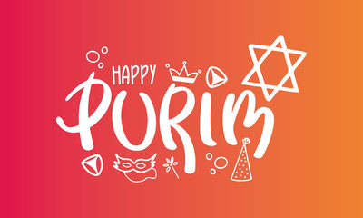 Happy Purim. Traditional Jewish religious holiday. Сelebrated by a masquerade and festival. A set of elements: the Star of David, masks, toys, cookies and other decor. Vector hand painted illustration